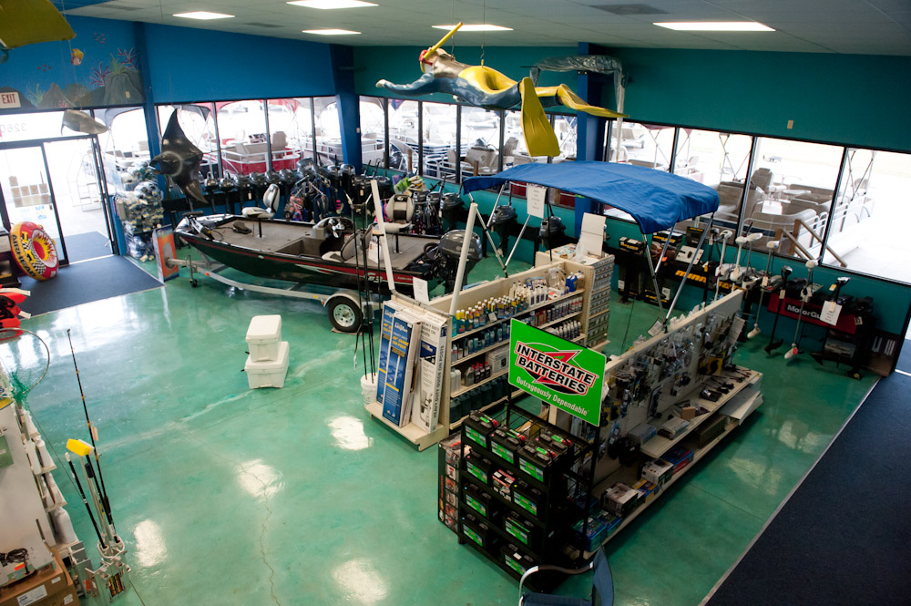 overhed view of inside the dealership